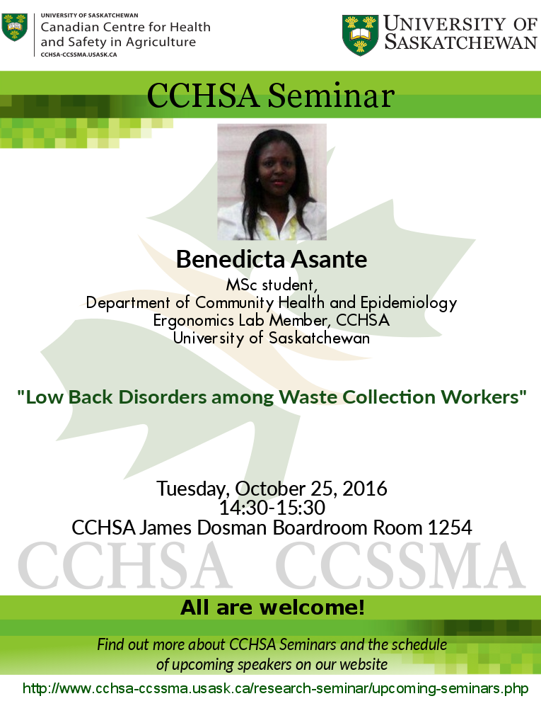 Weekly Seminar: Low Back Disorders among Waste Collection Workers