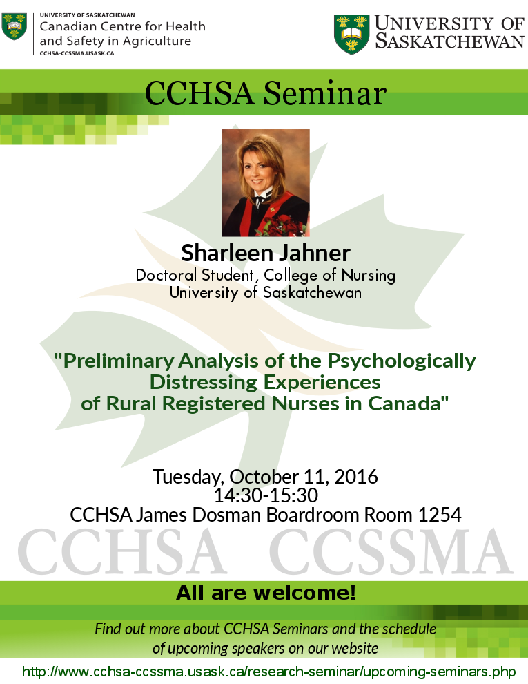 Weekly Seminar: Preliminary Analysis of the Psychologically Distressing Experiences of Rural Registered Nurses in Canada