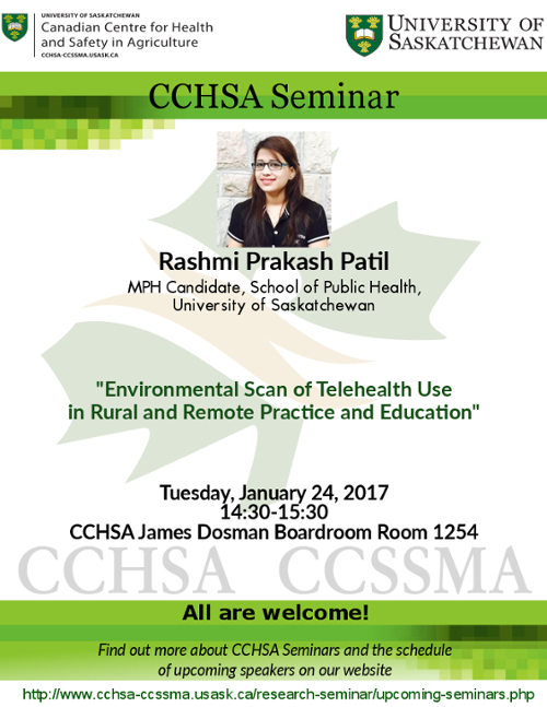 Weekly Seminar: Environmental Scan of Telehealth use in Rural and Remote Practice and Education